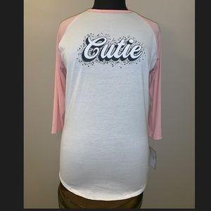 """Lularoe Randy Shirt """"Cutie""""  Size L NWT"""